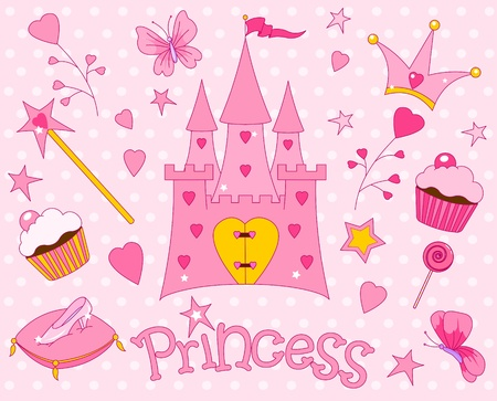 princess castle: Colorful set of Sweet Princess Icons
