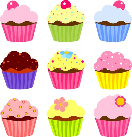 flores color pastel: Conjunto de varios cupcake