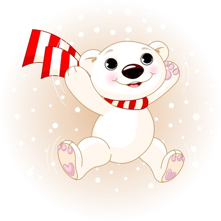 Cute polar bear with scarf jumping in snowfall Stock Vector - 11041579