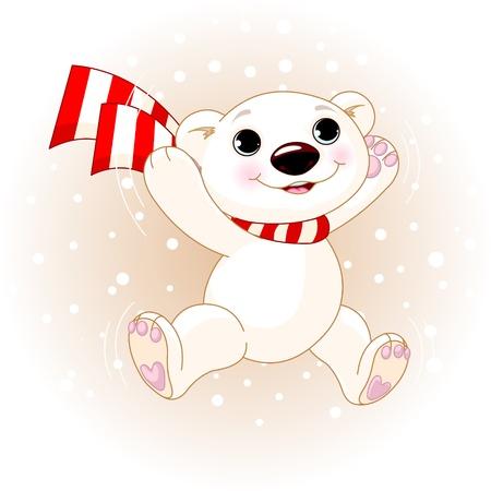 Cute polar bear with scarf jumping in snowfall