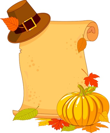 fall harvest: Thanksgiving Day scroll with pilgrim hat and pumpkin