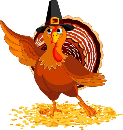 explaining: Illustration of Happy Thanksgiving Turkey presenting