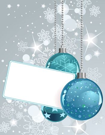 The white blank  label with Christmas Balls Vector