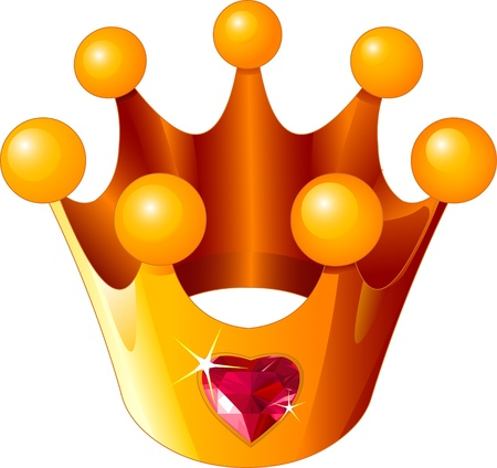 Illustratie van een gouden Liefde Princess Crown