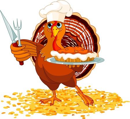 högtider: Thanksgiving kalkon servering pumpapaj Illustration
