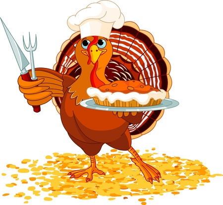 Thanksgiving turkey serving pumpkin pie Vector