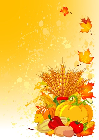 holiday background: Harvesting design with plump pumpkins, wheat, vegetables and autumn leaves