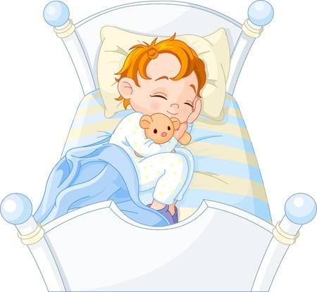 Schattige kleine jongen slapen in zijn bed Stock Illustratie