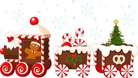 Christmas train made of gingerbread, cream and candies Illustration