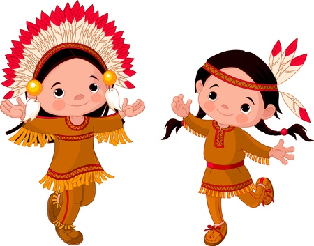 powow: Cute couple of American Indians children dancing