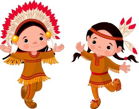 indianen: Schattige paar Amerikaanse Indianen kinderen dansen