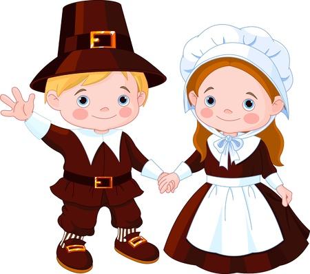 Día de Acción de Gracias los niños Pareja Pilgrim