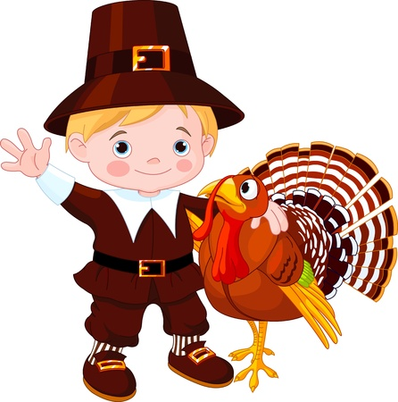 Illustration of cute pilgrim hug the turkey Vector