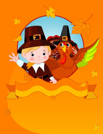 Happy Thanksgiving. Pilgrim and turkey  congratulates. Vector