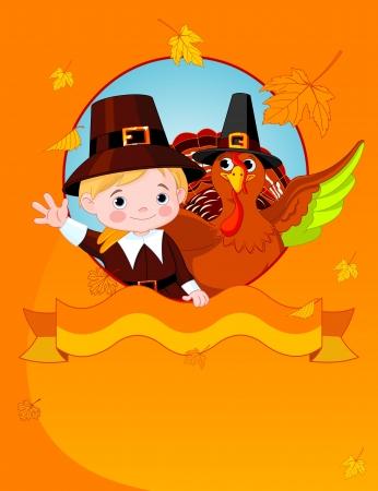 Happy Thanksgiving. Pilgrim en kalkoen feliciteert.