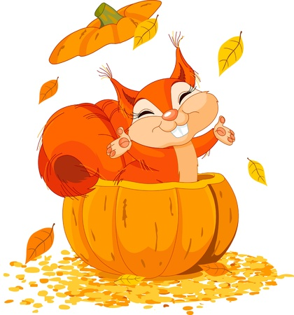 season: Squirrel jumping out from a pumpkin