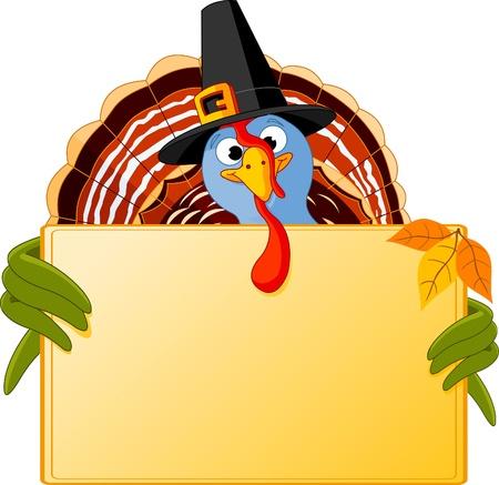 Cartoon turkey over blank sign  Ilustracja
