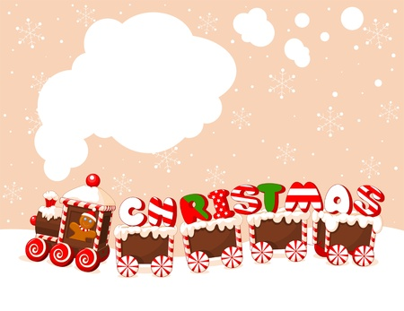 Christmas train made of gingerbread, cream and candies background