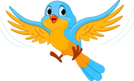 pajaro caricatura: Ilustración del pájaro que vuela feliz