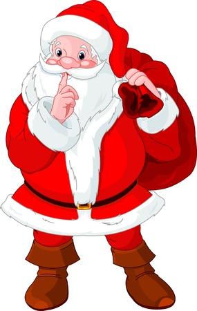 Illustratie van de Kerstman gebaren shush