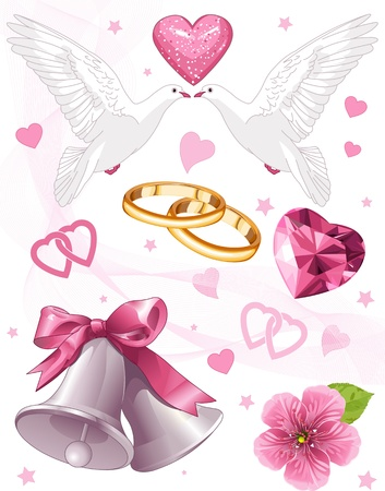 Wedding art for invitations and announcements Vector