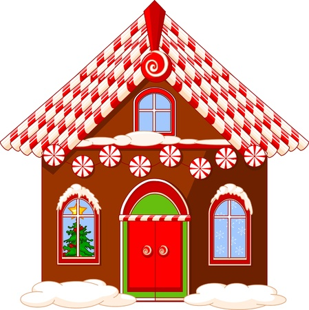 bake: christmas house made of gingerbread, cream and candies Illustration