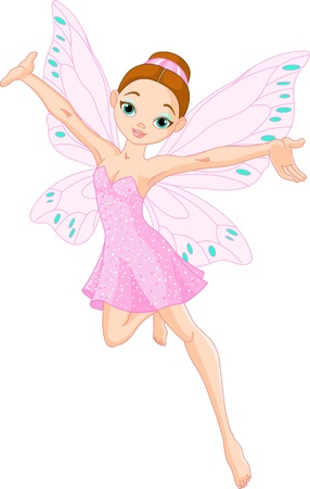 illustration of a cute pink  fairy in flight Vector