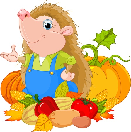 cute hedgehog with harvest of fruits and vegetables Ilustração