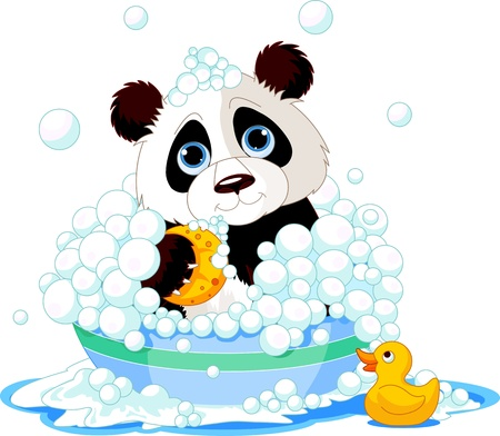 very cute panda having a soapy bath