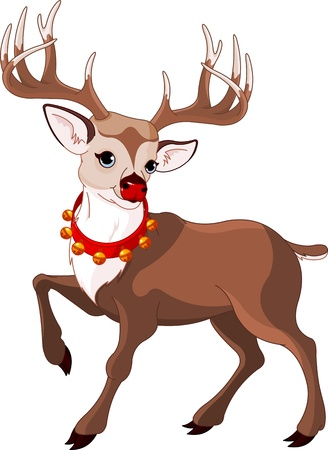 illustration of beautiful cartoon reindeer rudolf Vector