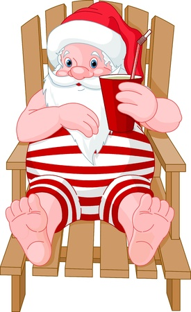 cartoon  santa claus relaxing on the beach Illustration