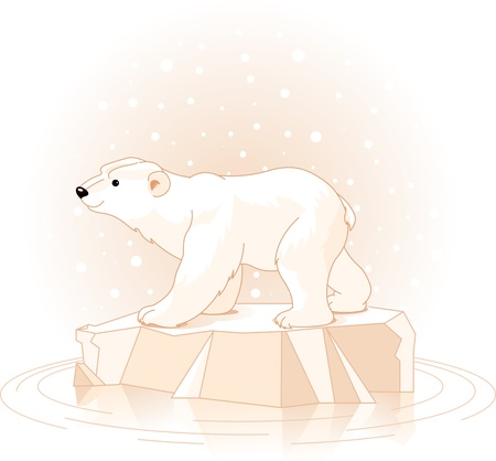 polar bear on the ice floe Vector