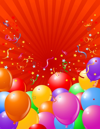 congratulations banner: Holiday radial background with  multicolored balloons