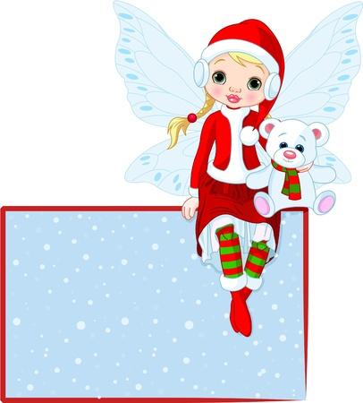 uitnodigen: Illustratie van Kerstmis elfje zittend op plaats-kaart Stock Illustratie
