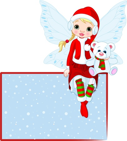 elf hat: Illustration of Christmas fairy sitting on place card