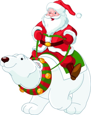 kris kringle: Santa Claus riding on the back of a friendly polar bear