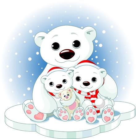 oso caricatura: Navidad de la familia de osos polares en el témpano de hielo Vectores