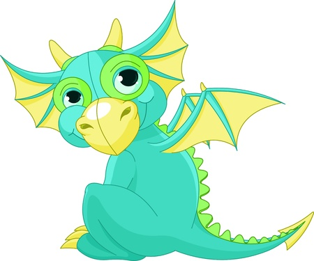 Illustration of Cute Cartoon baby dragon  Vector