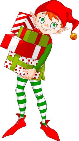 christmas costume: Christmas Elf holding a pile of gifts