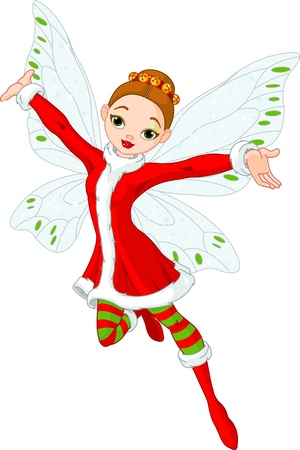 Illustration of a beautiful Christmas fairy in fly Vector