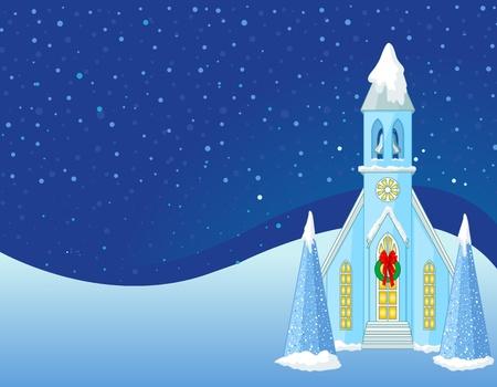 Invierno Escena de Navidad con el fondo de la iglesia nieve Foto de archivo - 11398251