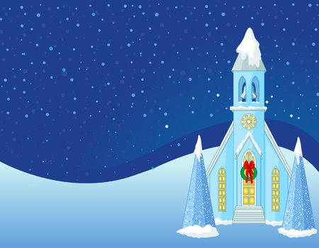 Winter Christmas scene  with snowbound church background
