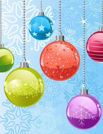 Christmas background with   snowflakes and balls Vector