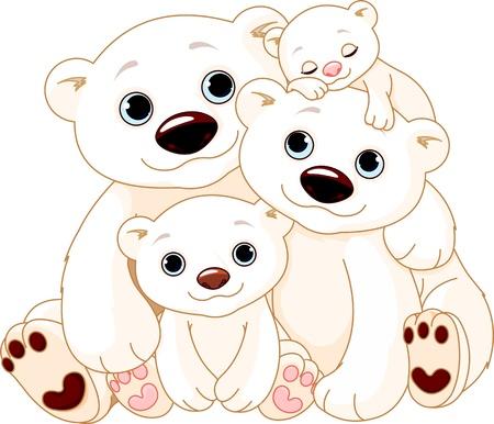 family clipart: Illustrationn di Big famiglia degli orsi polari Vettoriali