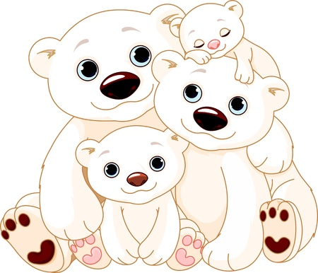 cubs: Illustrationn of Big Polar bear family