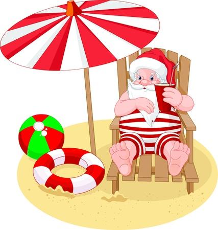 playa caricatura: Dibujos animados de Santa Claus se relaja en la playa