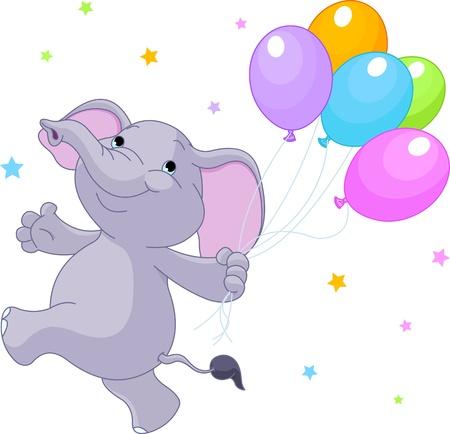 elephant cartoon: Felice elefantino molto carino con palloncini Vettoriali