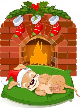 calcetines: Perrito lindo con sombrero de Papá Noel durmiendo cerca de la chimenea Vectores