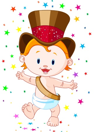 new years day: Cute baby New Year with top hat   Illustration