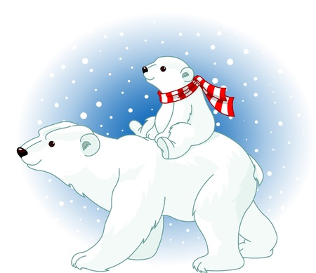 baby and mother: Polar Bear mom and baby riding on her back Illustration